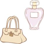 香水とバッグ